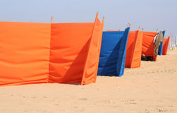 Windscreens on the Beach Royalty Free Stock Photo