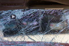 Windshield broken car park. Royalty Free Stock Images