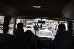 Police Traffic Operation, Check Security Point - Windshield Bus View Royalty Free Stock Images