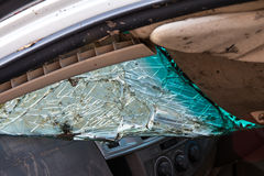 Windshield crack demolished. Windshield crack demolished damaged plying collision with another car Stock Images