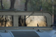 Windshield of a Humvee military vehicle. From the Romanian army royalty free stock photo