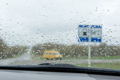 Windshield in the rain drops Stock Image