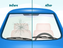 Before and after windshield Repair Stock Photography