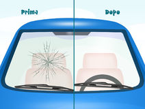 Before and after windshield Repair Royalty Free Stock Photos