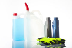 Windshield washer fluid and motor olis, car accessories Royalty Free Stock Photography
