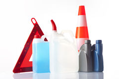 Windshield washer fluid and motor olis, car accessories Stock Images
