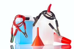 Windshield washer fluid and motor olis, car accessories Royalty Free Stock Photos