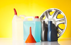 Windshield washer fluid and motor olis, car accessories Stock Image
