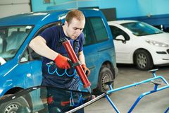 Windshield windscreen replacement Stock Images