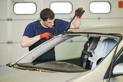 Windshield windscreen replacement works Stock Image