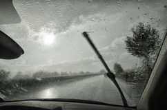 Windshield wiper in action Royalty Free Stock Photography