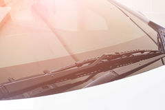 Windshield wiper in rain car. Royalty Free Stock Photography