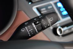 Windshield wiper switch. Car Wipers Control Closeup. Cars Interiors detail Stock Photos