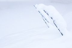 Windshield wipers covered in snow Stock Photos