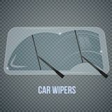 Windshield Wipers Realistic Composition. Car windscreen wipe glass realistic composition with isolated wind shield and flat wiper images on transparent Stock Photography