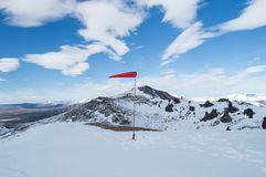 Windsock on the andes mountains. Places for helicopter operations Stock Photos