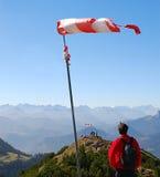 Windsock in de bergen royalty-vrije stock foto's
