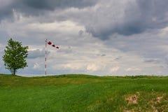 Windsock durchgebrannt durch den Wind mit bewölktem Himmel, einsamem Baum und grünem Rasen stockfotos