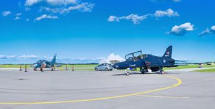 WINDSOR, CANADA - SEPT 10, 2016: Panoramic view of canadian jet. Aircrafts in exhibit at the Windsor Aviation Museum, taken in Windsor, Ontario royalty free stock images
