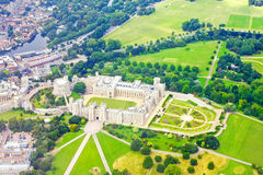 Windsor castle. Aerial shot of Windsor castle in England Stock Images