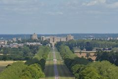 Windsor Castle. Classic shot of Windsor Castle taken from the top of the copper horse 2.5 miles away Stock Image