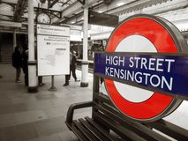 High street Kensington Station. At the High street Kensington Station Stock Image