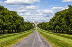 Windsor Castle and The Long Walk. Looking towards Windsor Castle from The Long Walk in Berkshire, England Royalty Free Stock Photos