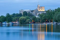 Windsor Castle overlooking the River Thames, England stock photos