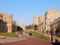 Royal palace Windsor Castle  - Lower Ward - Windsor - England - United Kingdom. Windsor Castle , Royal palace, Lower Ward with St. George's Chapel,  Round Stock Photo