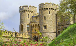 Windsor castle. In the summer with flowers in the foreground Royalty Free Stock Photography