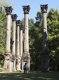 Windsor Columns. Woman stands marveling at some of the remaining columns -the ruins of a once grand antebellum home. Near the town of Port Gibson, Mississippi Stock Photos
