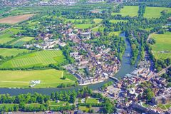 Aerial view of Windsor Castle and staging for the royal wedding of Prince Harry and Meghan Markle Royalty Free Stock Photo