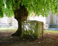 Peaceful corner of graveyard at a Church in Windsor England stock image