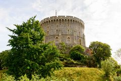 Windsor, England, United Kingdom. WINDSOR, ENGLAND - JULY 21, 2016: Round Tower of the Windsor Castle, Berkshire, England. Official Residence of Her Majesty The royalty free stock image