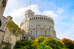 Windsor, England, United Kingdom. WINDSOR, ENGLAND - JULY 21, 2016: Round Tower of the Windsor Castle, Berkshire, England. Official Residence of Her Majesty The royalty free stock photos
