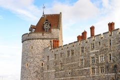 Windsor, England, United Kingdom. WINDSOR, ENGLAND - JULY 21, 2016: Wall of the Windsor Castle, Berkshire, England. Official Residence of Her Majesty The Queen stock photo