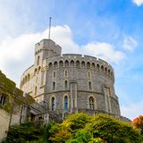 Windsor, England, United Kingdom. WINDSOR, ENGLAND - JULY 21, 2016: Round Tower of the Windsor Castle, Berkshire, England. Official Residence of Her Majesty The stock images