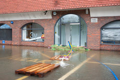 Windsor flooding. Office buildings being pumped out after flooding by the River Thames near Windsor, UK on 11 February, 2014 Stock Images