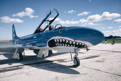 WINDSOR KANADA - SEPT 10, 2016: Jet Aircraft Museum (DRIFTSTOPP) T-33 Royaltyfri Foto