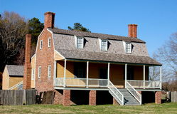 Windsor, NC: 1763 King-Bazemore House. Gambrel-roofed 1763 King-Bazemore House built of brick and wood is an landmark colonial home located on the grounds of Royalty Free Stock Photo