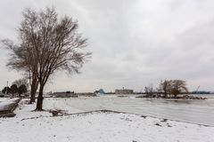 Scenic Detroit River waterfront in winter, February 5 2017. Windsor, Ontario at the Detroit River waterfront in winter, February 5 2017 Royalty Free Stock Images