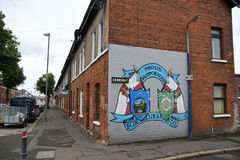 Windsor Park Neighbourhood. A Linfield FC graffiti is seen on a house in the surrounding neigbourhood of the Windsor Park stadium in Belfast pictured prior to Royalty Free Stock Image