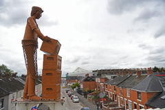 Windsor Park View. Windsor Park is pictured from a surrounding area with a metal statue in foreground prior to UEFA Champions League Group Last First Qualifying Stock Photography