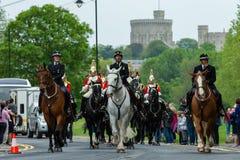 Windsor, UK - 18 Μαΐου 2019: Το οικιακό ιππικό χαρακτηρίζει την αναχώρησή τους από τις αποδοκιμασίες Comberme στοκ φωτογραφίες