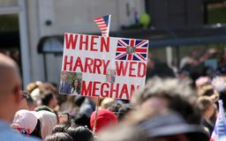 Windsor, Uk, 5/19/2018 : crowd scenes after wedding of Meghan Markle and Prince Harry outside Windsor castle. Windsor, Uk, 5/19/2018 : crowd scenes after wedding royalty free stock image