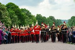 Windsor, UK - May 18 2019: The Household Cavalry mark their departure from Comberme Barracks stock photography