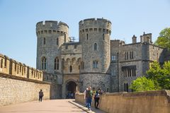 View at the medieval Windsor Castle, built 1066 by William the Conqueror. Official residence of Queen. Berkshire, England UK. Windsor, UK - May 5, 2018: View at stock photo