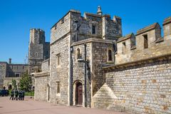 View at the medieval Windsor Castle, built 1066 by William the Conqueror. Official residence of Queen. Berkshire, England UK. Windsor, UK - May 5, 2018: View at stock photography