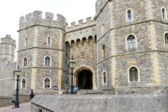 Windsor, United Kingdom - Aug 29, 2017: View of Medieval Windsor Castle Windsor Castle is a royal residence at Windsor, Eng. Windsor, United Kingdom - Aug 29 stock photos