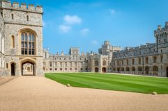 View of Upper Ward Quadrangle in Medieval Windsor Castle stock photos